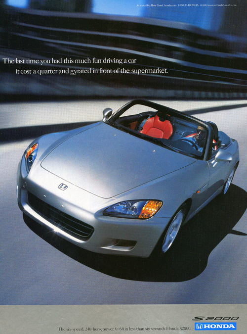 A 2000 model year S2000 intro advertisement.  (Photo credit: American Honda Motor Company)