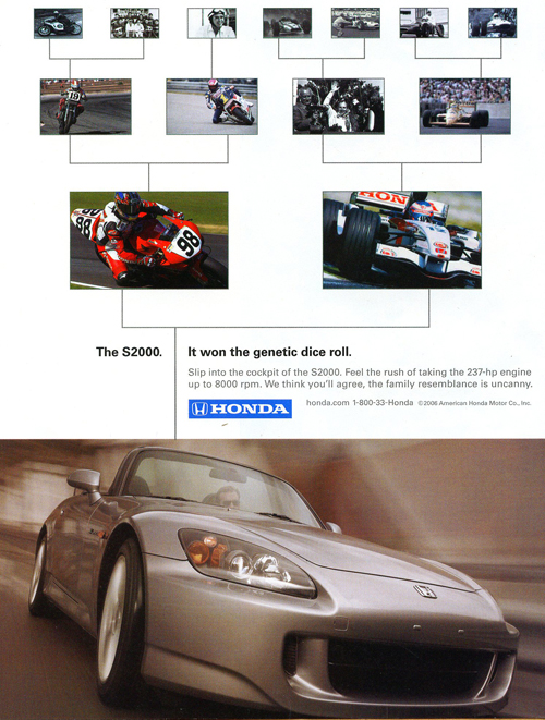 "A 2006 model Honda S2000 ""genetics"" advertisement.  (Photo credit: American Honda Motor Company)"