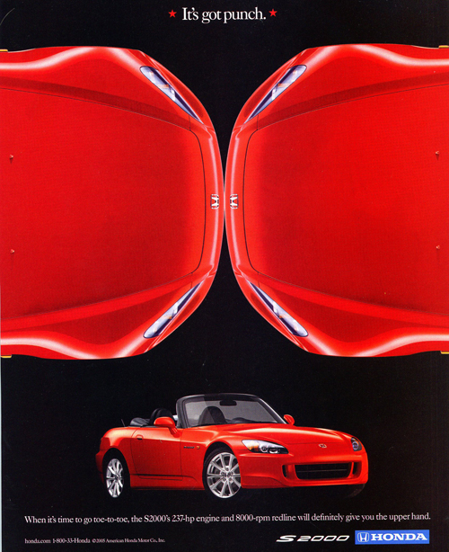 "As this 2006 Honda advertisement points out, the S2000 has ""punch"".  (Photo credit: American Honda Motor Company)"
