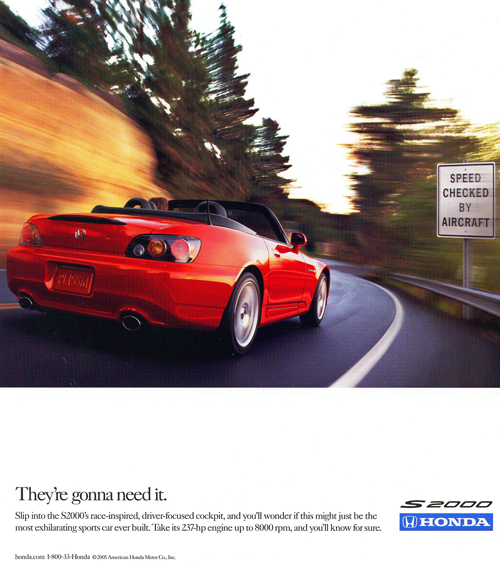 A third 2006 Honda S2000 advertisement.  (Photo credit: American Honda Motor Company)