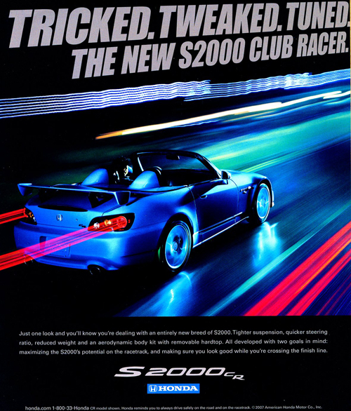 A 2008 advertisement for the S2000 Club Racer special edition model.  (Photo credit: American Honda Motor Company)
