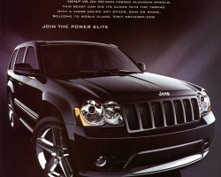 A 2007 Jeep Grand Cherokee SRT8 advertisement.  (Photo credit: Chrysler Corporation)
