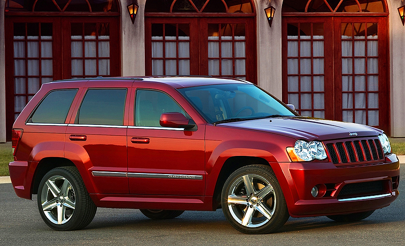 The Jeep Grand Cherokee SRT8 (2006-2010) features full time all-wheel-drive, and can blast from 0-60 in 4.9 seconds. The Grand Cherokee was redesigned for 2011, and an SRT8 version on the new platform is still under development.  (Photo credit: Chrysler Corporation)