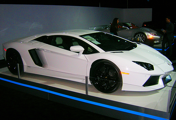 Lamborghini's next supercar, the Aventador, makes an appearance at the NY show, featuring a 700 horsepower V12 engine.  (Photo credit: Sean Connor)
