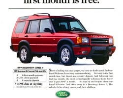 An advertisement introducing the 1999 Discovery II discussed lease deals.  (Photo credit: Land Rover North America)