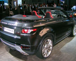 According to Land Rover, this convertible version of its recently-released Range Rover Evoq compact sport utility shows new direction for the company.  (Photo credit: Sean Connor)
