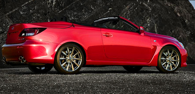 The Lexus IS-F V8 convertible features a folding hardtop, and was introduced a year after the sedan.  (Photo credit: H. Dolgoth)