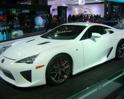 The production Lexus LFA supercar, powered by a 552 hp V10 engine, is made mostly of carbon fiber for low weight and costs $375k.  (Photo credit: Sean Connor)