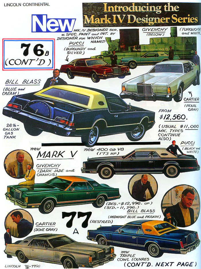 "1976 Lincoln Mark IV and 1977 Mark V ""Designer Editions"" are highlighted.  (Photo credit: Tad Burness)"