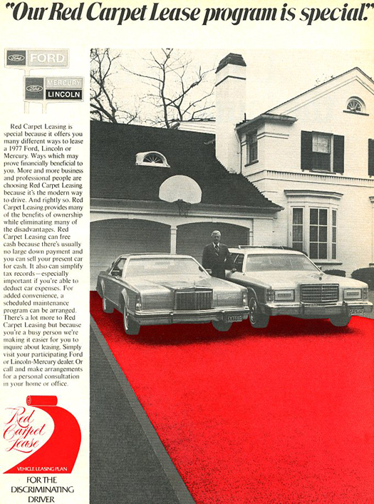 1977 Lincoln Mark V ad, lease