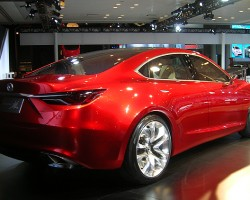 According to Mazda CEO Jim OSullivan, this concept car is a thinly disguised version of the upcoming 2013 production Mazda 6.  (Photo credit: Sean Connor)