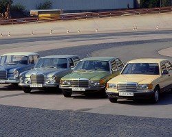 A 1980 model short-wheelbase 126 body is photographed on Mercedes-Benz's test track in Germany in late 1979 along with the three prior generations of S-class models.