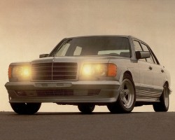 A 1984 500SEL upgraded by German tuning house AMG.  Engines were bored out to larger displacement for more power, and suspension and brake systems were upgraded for performance.  Wheels and lower spoiler pieces shown on this '84 were installed by AMG, and headlight assemblies were converted to Euro flush assemblies.
