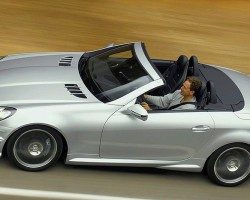 SLK two seater convertibles were redesigned for 2005, and SLK55 AMG models also feature the 5.5-liter V8 engine through today.   (Photo credit: Mercedes-Benz USA)