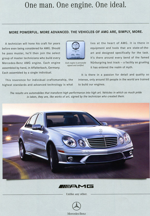 This 2006 E55 AMG ad shows the car in 2003-09 E-class guise.  (Photo credit: Mercedes-Benz USA)