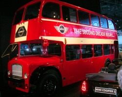 Mini brings in an authentic doubledecker bus from England for display on its stand.  This one's worth a look.  (Photo credit: Sean Connor)