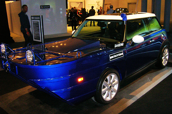 As always, the folks at Mini show their great sense of humor with the Yachtsman display.  (Photo credit: Sean Connor)
