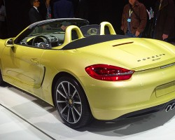 Porsche also debuts its new Boxster. While slightly larger, it is also lighter than the outgoing model and offers a 15 percent improvement in fuel economy.  (Photo credit: Sean Connor)
