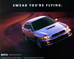 An advertisement introducing the 2002 Subaru WRX.  (Photo credit: Subaru of America)