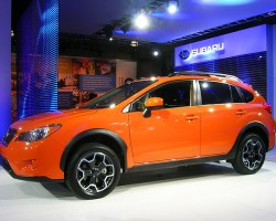 Subaru debuts its new Crosstrek model, an updated version of the Impreza outback.  (Photo credit: Sean Connor)