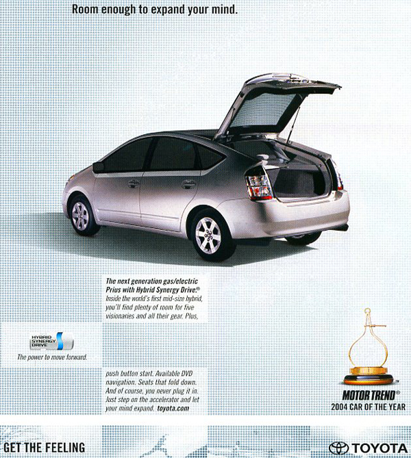 The unexpected popularity of the 2004 Toyota Prius inspired many imitations of its basic shape.  (Photo credit: Toyota USA)