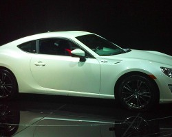 Toyota markets its version of the rear-wheel-drive sport coupe as the Scion FT86.  Developed jointly with Subaru, this goes on sale this year.  (Photo credit: Sean Connor)