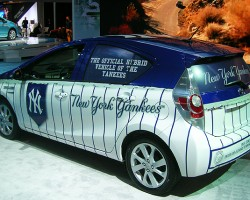 Toyota debuts an additional Prius hybrid model, known as the Prius C. And yes, it is the official hybrid vehicle of the New York Yankees.  (Photo credit: Sean Connor)