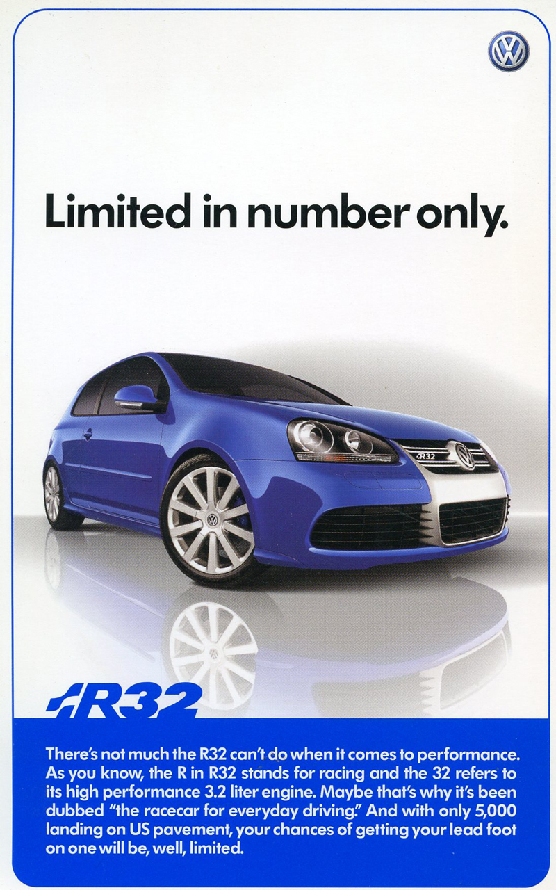 A promotional page for the second run of R32 models, built during the 2008 model year only.  (Photo credit: Volkswagen of America)