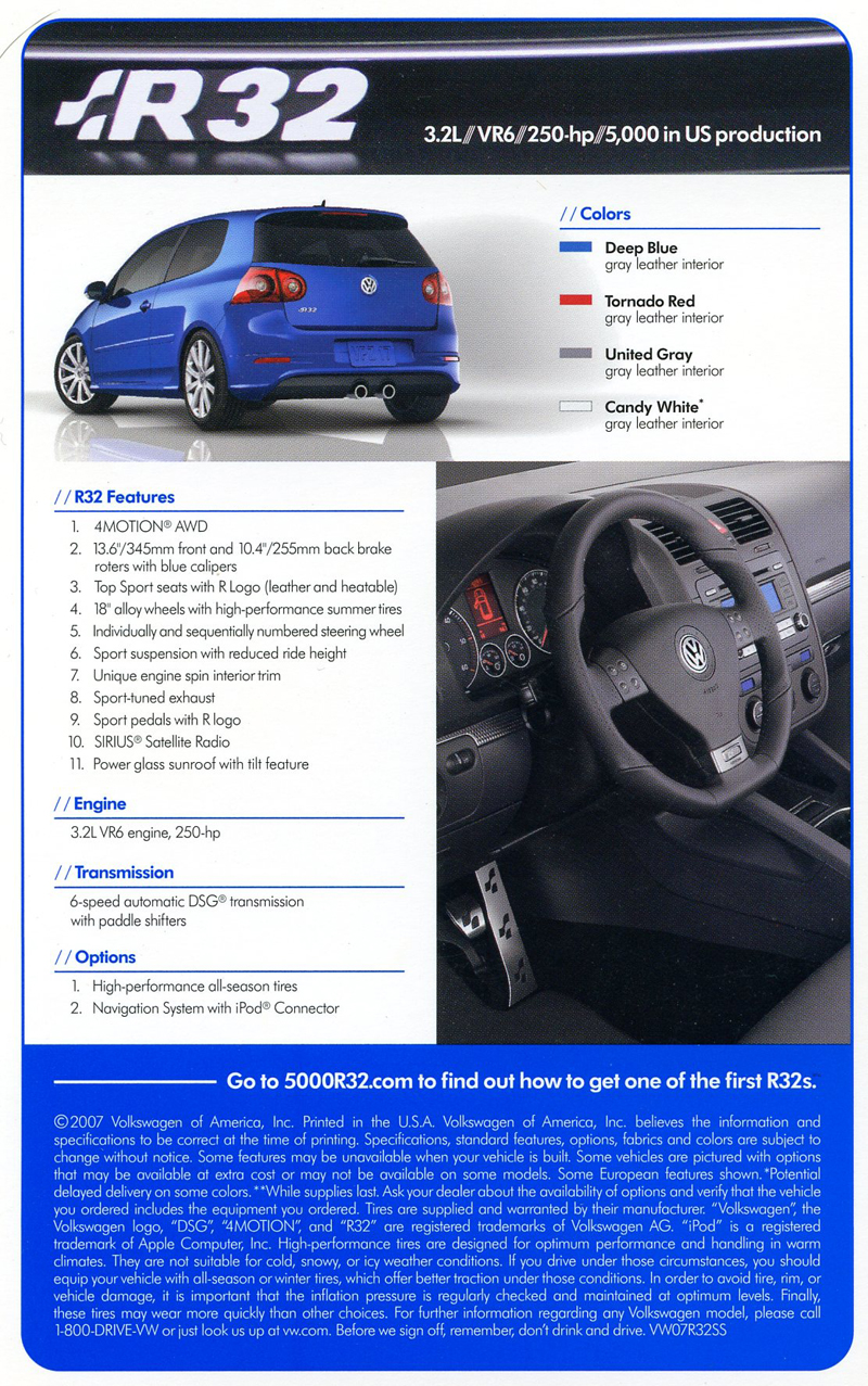 Page 2 of promotional literature for the 2008 R32.  (Photo credit: Volkswagen of America)