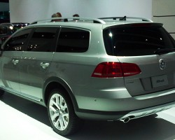 Seeking to build on the anticipated success of the Audi A4 Allroad, VW debuts its own elevated 4wd wagon based on the new 2011 Passat design.  (Photo credit: Sean Connor)