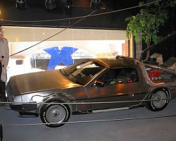 A customized 1981 DeLorean DCM-12 used in the Back To The Future movie trilogy.  (Photo credit: Hollywood Star Cars Museum)