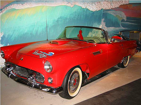 A 1955 Ford Thunderbird that onced belonged to Dennis Wilson of the Beach Boys.  (photo credit: Hollywood Star Cars Museum)