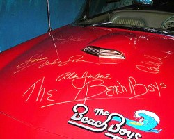 All the members of The Beach Boys signed the '55 T-Bird's hood.  (Photo credit: Hollywood Star Cars Museum)