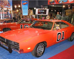 A 1969 Dodge Charger that is one of 17 surviving 1968-70 Chargers used filming the Dukes Of Hazzard tv show.  (Photo credit: Hollywood Star Cars Museum)