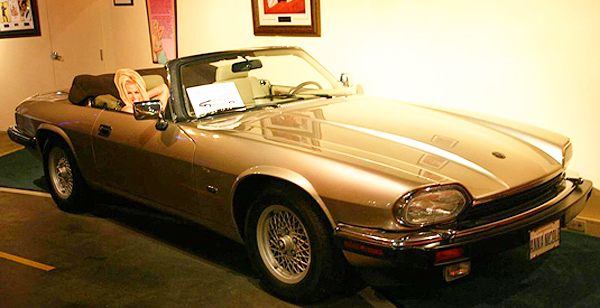 When Anna Nicole Smith became Playboy Magazine's Playmate of the Year in 1993, Hugh Hefner gave this '93 Jaguar XJS convertible to her as a gift.  (Photo credit: Hollywood Star Cars Museum )