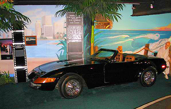 The 1972 Ferrari 365GTS replica used in the first two seasons of '80s tv show Miami Vice, driven by Don Johnson.  (Photo credit: Hollywood Star Cars Museum)