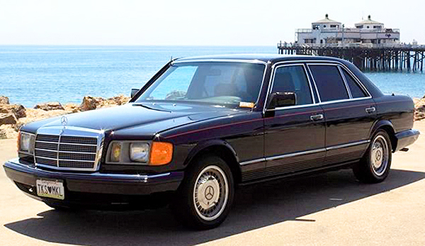 The 1985 Mercedes-Benz 500SEL owned by pop singer Michael Jackson.  As the license plate shows, he later gave to his aunt as a gift.  (Photo credit: Hollywood Star Cars Museum)