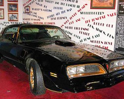 One of the 1977 Pontiac Firebird Trans Ams used in the first Smokey and the Bandit movie starring Burt Reynolds and Jerry Reed.  (Photo credit: Hollywood Star Cars Museum)