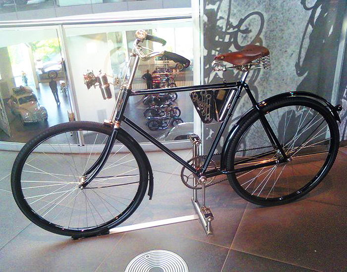 The Wanderer brand was established in 1896 by founders Winklhofer and Jaenick, who initially focused on bicycles like this one. The Wanderer brand was one of four German makes (including Audi) incorporated together into Auto Union in 1932. Wanderer production facilities were destroyed early into WWII, and the brand was not resurrected afterwards.  (Photo credit: Sean Connor)