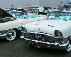 Two matching 1956 Packard Caribbean convertibles.  (Owned by Ole Book, David Czirr)