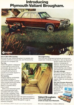 An ad showing the 1974 Plymouth version of the Dodge Dart Special Edition.  Plymouth's was known as the Valiant Brougham.