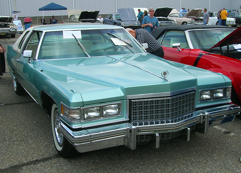 1976 Cadillac Coupe de Ville, front view.  (Owned by Lawrence LIttman)