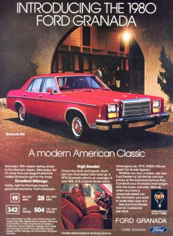 An advertisement for the 1980 Ford Granada ESS, now in the final year of its design run.
