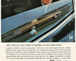 """""""Only one car can make a Cadillac owner look twice.  Longtime owners, accustomed to the finest, have high regard for the spirited glamour of the 1968 Eldorado...""""  (Photo credit: General Motors Corporation)"""