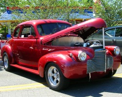 "A 1940 Chevrolet ""Master 85 Business Coupe"", modified to street rod performance standards.  (Photo credit: Sean Connor)"