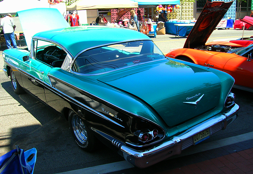 1958 Chevrolet Bel Air hardtop coupe.  Because '58 was the first year for the higher-trim Impala model, base Chevrolets featured one taillamp per side, Bel Airs featured two, and Impalas featured three.  (Photo credit: Sean Connor)