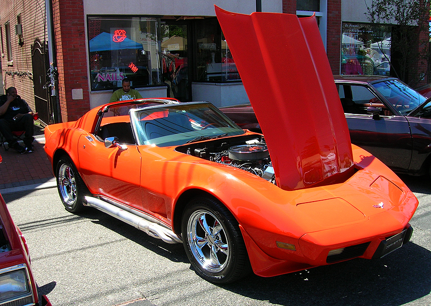 1977 Chevrolet Corvette, equipped with popular removable t-top option.  Side exhaust pipes and wheels are not stock.  (Photo credit: Sean Connor)