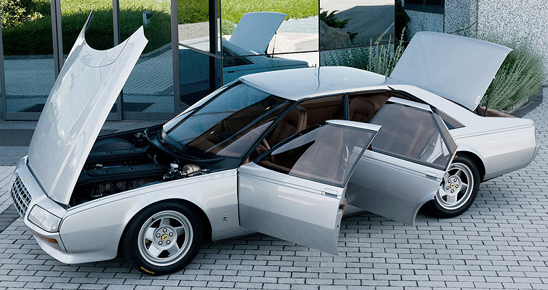 Designed to celebrate the 50th anniversary Ferrari's styling house Pinin Farina, Ferrari's only factory-built 4-door sedan made its world premiere at the 1980 Turin Motor Show in Italy.  Initially, it was a non-running concept.  (Photo credit: Wikicars)