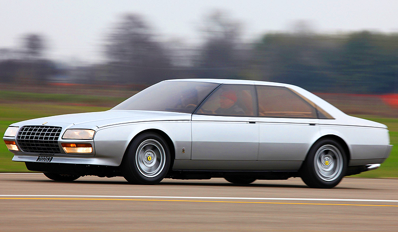 While the Pinin was originally a non-running concept car, the current owner had it fitted with a 4.9-liter 12-cylinder engine from a 512BB and a specially adapted five-speed gearbox from the Ferrari 400GT.  Horsepower was rated at 360.  Other changes included the strengthening of the chassis, the addition of a fuel tank plus new suspension and brakes.  (Photo credit: Auto Galeria)