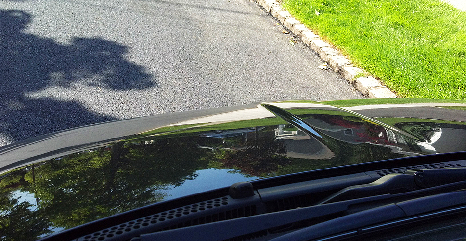 The Fiat's hood is so short it cannot be seen from inside the car.  Here, an outside view. (Photo credit: Sean Connor)